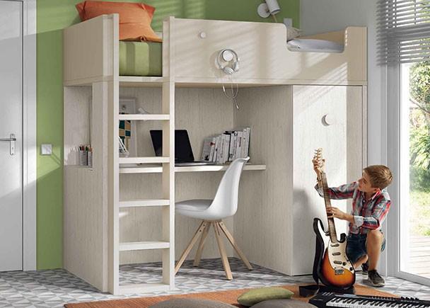 Dormitorio infantil con litera exenta con mesa y armario - Literas con armario ...