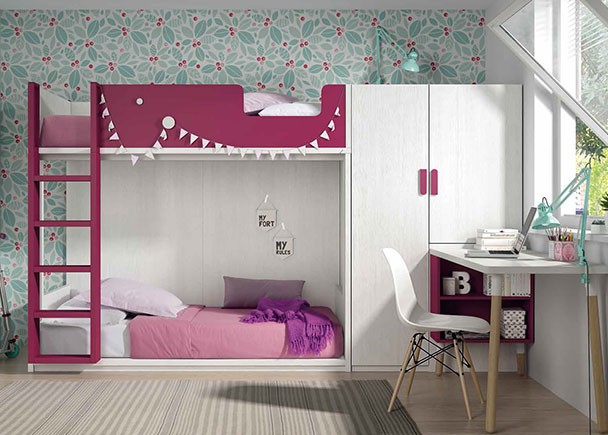 Habitaci n infantil con litera de dos camas con base de for Habitacion con litera