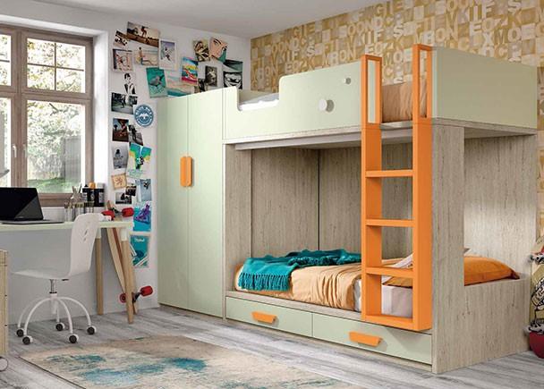 Habitaci n infantil con litera de dos camas con base de for Cama de 90 con cajones