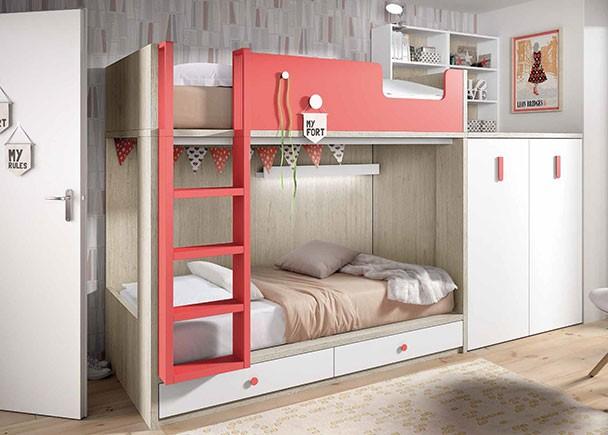 Habitaci n infantil con literas tipo tren con armario y - Habitacion con literas ...