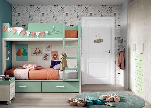 Dormitorio infantil con litera para dos camas de 90 x 190 con cajones en la parte inferior y escalera integrada.