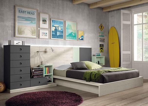 Habitaci n juvenil con cama tatami para colch n de 190 x - Cama tipo tatami ...