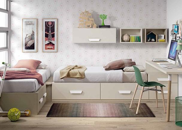Habitaci n infantil con dos camas modulares con cajones for Precios de dormitorios infantiles