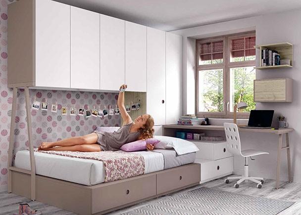 Habitaci n juvenil con cama modular y armarios elmenut - Cama tipo tatami ...