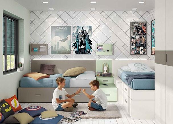 Dormitorio infantil con armario y dos camas modulares for Habitaciones modulares juveniles