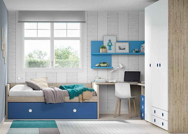 Habitación juvenil equipada con una cama nido baja con somier de arrastre. Seguidamente se encuentra la zona de estudio, para la que hemos escogido u