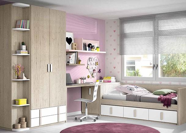 Habitaci n juvenil con cama nido de 3 cajones y armario - Habitacion juvenil cama abatible ...