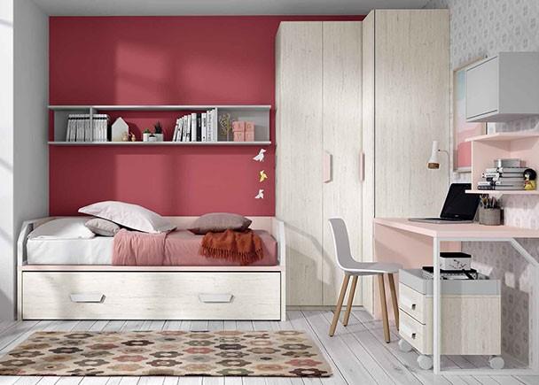 Habitaci n infantil con cama nido y armario rinconero for Camas nido originales