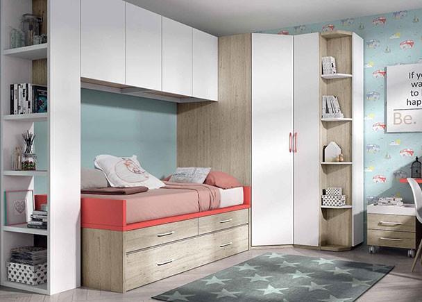 Habitaci n infantil con armario rinc n y compacto nido - Habitaciones juveniles con cama abatible ...