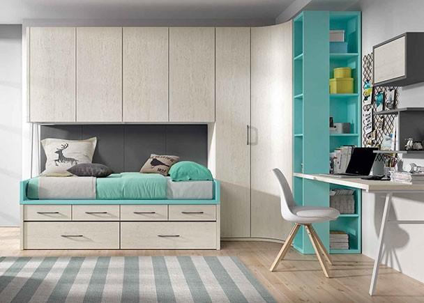 Dormitorio juvenil con armario rinconero y compacto de - Precio habitacion juvenil ...