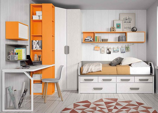 Habitaci n juvenil con compacto escritorio y armario for Mural habitacion juvenil