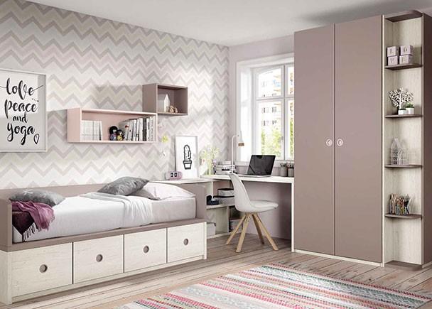 Habitaci n juvenil con compacto armario y escritorio angular elmenut for Armarios habitacion juvenil