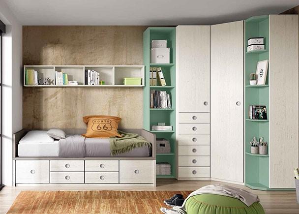 Dormitorio juvenil con compacto de cajones y armario for Mueble zapatero esquinero