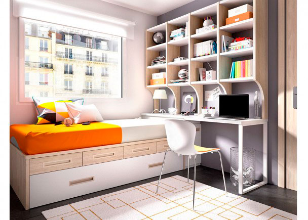 Dormitorio con cama nido cajones modulares elmenut - Cama nido economica ...