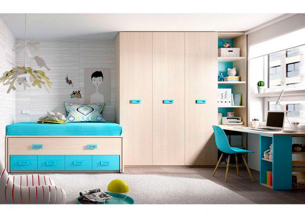 Habitación Juvenil equipada con compacto de 4 cajones con deslizante + Armario de 3 cuerpos y escritorio de 202 cm.