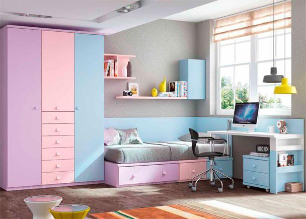 Dormitorio Infantil de linea modular con escritorio recto de 151 cm y armario de 3 puertas con sinfonier central de 6 cajones vistos.