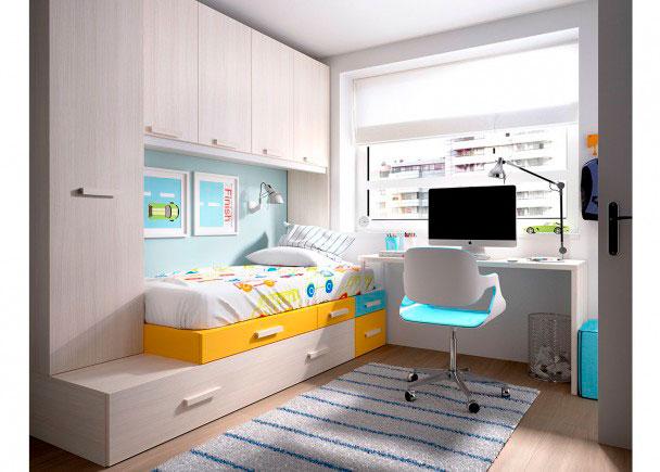 Habitaci n juvenil modular con armario apilable elmenut for Habitaciones juveniles abatibles