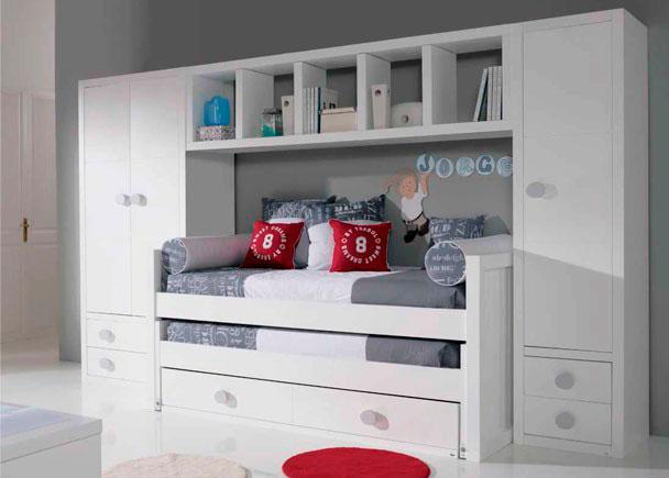 Habitaci n juvenil fabricada en laca de alta calidad elmenut for Medidas camas compactas juveniles