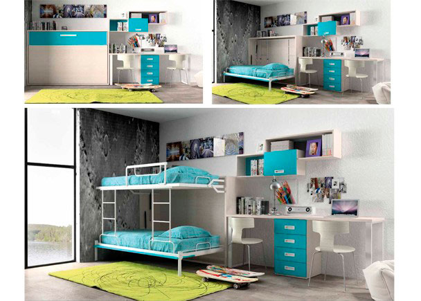 Dormitorio juvenil con litera abatible para dos camas de - Habitaciones juveniles con dos camas ...
