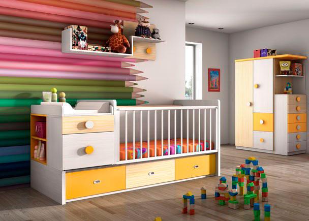 Dormitorio con cuna convertible con base cajones elmenut - Dormitorios infantiles malaga ...