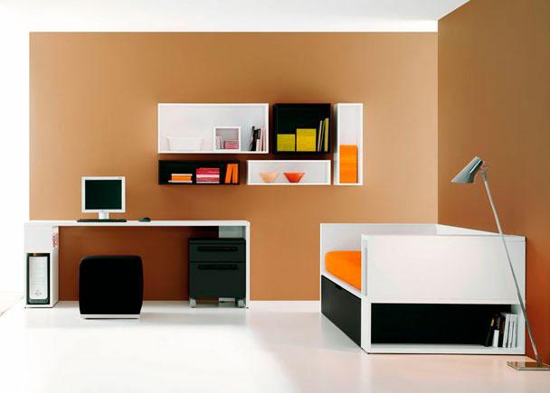 Habitación Juvenil con Cama nido Tarima con baúl lateral, Mesa de estudio con soporte CPU, Estantes y Mesita con ruedas 2 cajones.