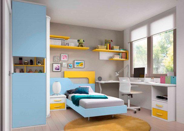 Novedoso dormitorio juvenil equipado con armario terminal vitrina que además dispone de un mueble zapatero en uno de los costados y gran zona de estu