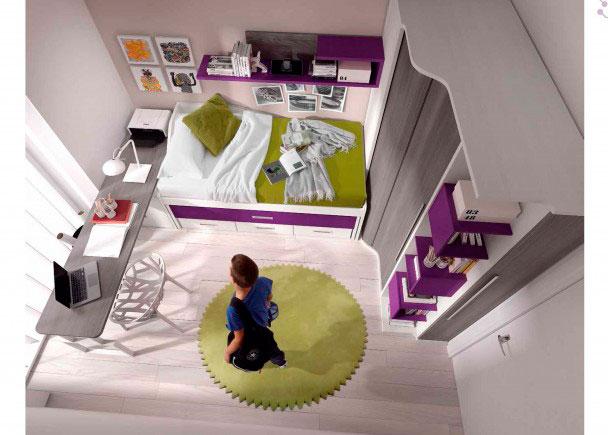 Dormitorio juvenil con cama compacta elmenut for Cama infantil compacta