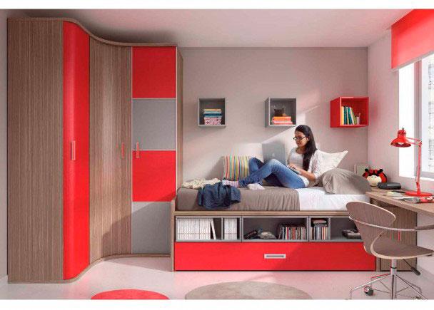 Luminosa habitación juvenil con amplio armario rincón asimétrico con puertas curvas,Cama compacta con base de 3 cajones - l
