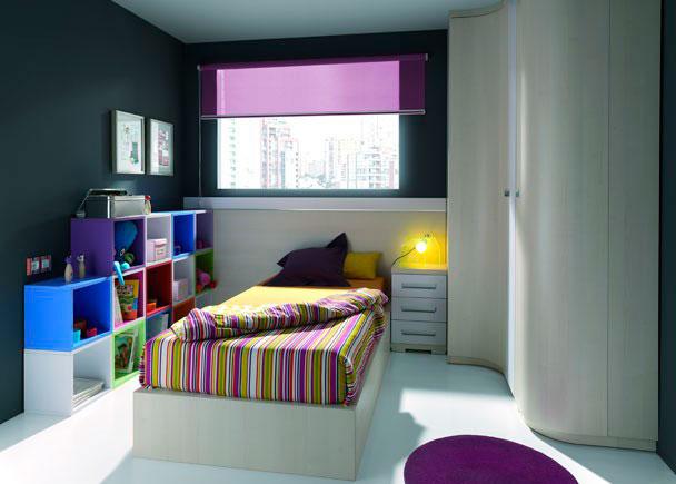 Dormitorio Juvenil equipado con los siguientes elementos:-Armario Terminal Derecho con una puerta curva (36 de ancho x 241 de altura x 57 F)-Armario r