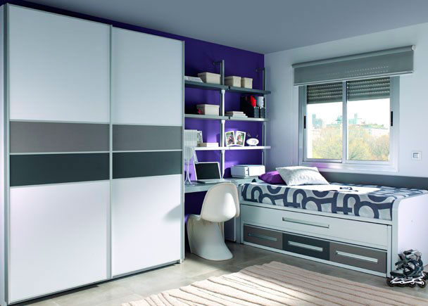 Moderna habitaci n juvenil con 2 camas y armario elmenut - Habitacion 2 camas ...