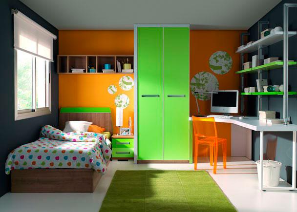 Cama para colchón de 90 x 190 y armario 2 p. Elmenut