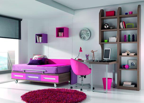 Dormitorio juvenil con cama con ruedas elmenut for Habitaciones juveniles abatibles