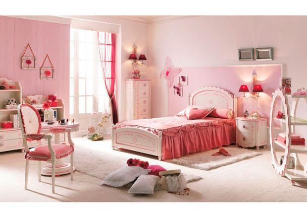 Dormitorio de princesa lacado en blanco y rosa elmenut for Dormitorio nina blanco