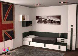 Habitación juvenil con cama compacta configurada a base de módulos con cajones y elementos aéreos cubos sin puerta.