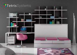 Dormitorio juvenil con sofá, cama abatible y zona de estudio moderno. Incluye la estructura abatible horizontal con estantes, cajones y cama supletoria