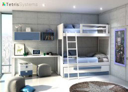 Litera romántica y compacto con cama deslizante, escalera, protector para la cama de arriba, mesa de estudio rectangular con soportes y cajones y cubos