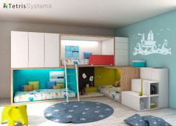 Dormitorio con 3 literas RUBBIK, todas con iluminación Led. Cuenta con armarios, sinfonier, escalera de 3 peldaños, cubos diáfanos y bolsas multiusos.