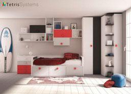 Con la amplia modulación de la serie 515, podremos confeccionar una cama totalmente a medida que contenga todo lo que necesites guardar.
