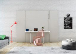 Salón con mesa abatible vertical de 135 x 190 con mesa plegable incorporada.
