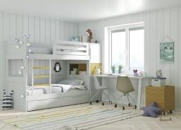 Dormitorio infantil con litera de 3 camas, armario y zona de estudio.En la cabecera de las camas se han colocado unos módulos apilados de 1 metro de fondo, siendo todos independientes entre sí, y quedando el módulo central con acceso desde el interior de la cama baja.