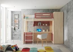 Este ambiente corresonde a un dormitorio juvenil, equipado con una litera XL, debido a que es más alta de lo habitual, algo que permite habilitar la zona inferior para otros usos. En este caso el espacio se ha usado para ubicar la zona de estudio. El ambiente se completa con un armario de la misma altura que la cama.
