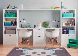 Zona de estudio doble para habitación infantil fabricada in