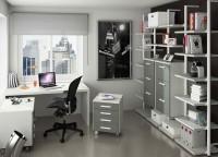 Zonas de estudio: Despacho doméstico completamente modular que podemos adaptarlo según nuestras necesidades, tanto en medidas, disposición, módulos, estantes, colores y tira