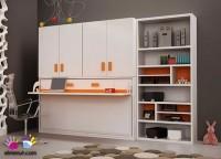 Zonas de estudio: Cama abatible horizontal para colchon de 90 x 190 con escritorio. El modulo cuenta con un amplio armario de 4 puertas batientes con dos huecos, en la parte superior; uno con barra de colgar y otro con estantes. A la derecha hemos añadido una librería asimetrica.