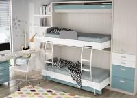 Dormitorio infantil equipado con una litera abatible para colchones de 90 x 190. El ambiente cuenta además con un armario de una puerta en la parte superior con 2 cajones y 2 contenedores en la parte baja. La zona de estudio la compone un escritorio de sobre recto, un módulo auxilar de 3 cajones y un librería con panel trasero.
