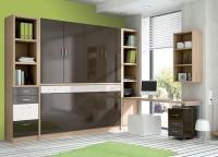 Dormitorio juvenil equipado con un mueble que contiene una cama abatible horizontal en la parte inferior y un armario con 4 puertas batientes en la parte superior. El ambiente se completa con una librería con 2 cajones y 2 contenedores y una zona de estudio.