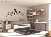 Zonas de estudio: Ambiente juvenil luminoso y lleno de imaginación, que ha sido pensado para que puedan dormir dos personas a diario.