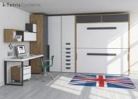 Habitación para jóvenes con litera horizontal abatible de alta calidad, amplio armario rinconero y mesa con soportes metálicos.