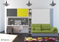 Cama abatible de 150 x 190 con estantes interiores y sofá DIVO con nido inferior. El ambiente cuenta con dos terminales librería y escritorio con altillo.
