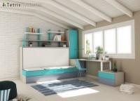 Combinación mixta de cama abatible con cama nido. Dispone de un arcón de puerta extraíble con armario apilable de 1 puerta, escritorio y zona de librería.